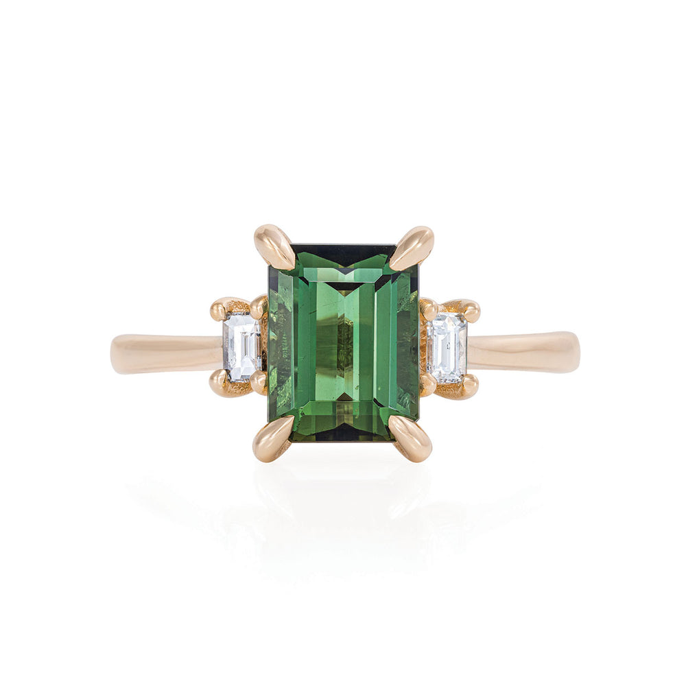 Solid Gold Hero - Green Tourmaline & Classic Diamond Polished Band Ring