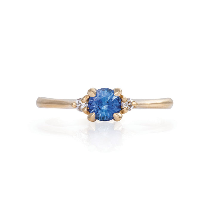 Love Is All - 14k Polished Gold Blue Sapphire & Diamond Ring