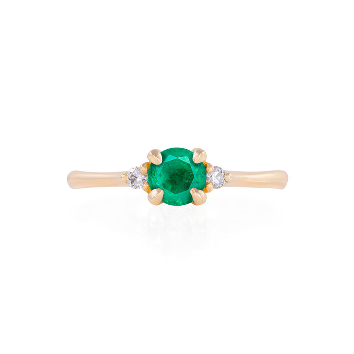 Love is All - 14k Polished Gold Emerald & Diamond Ring