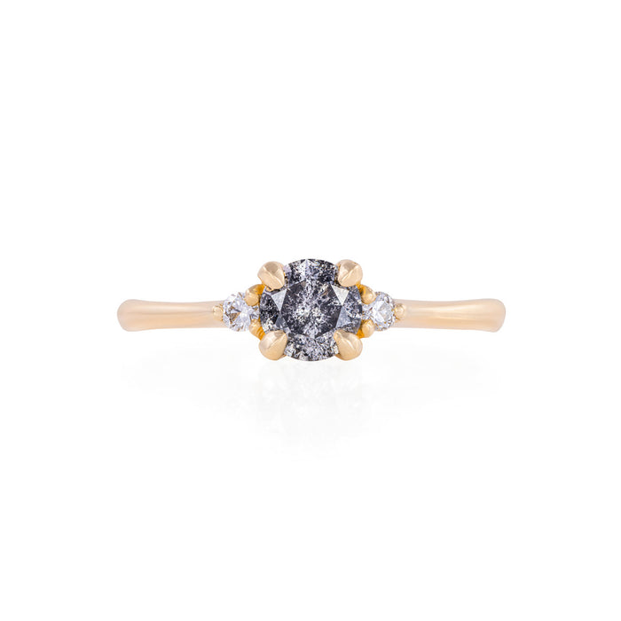 Love is All - 14k Polished Gold Grey Diamond Ring