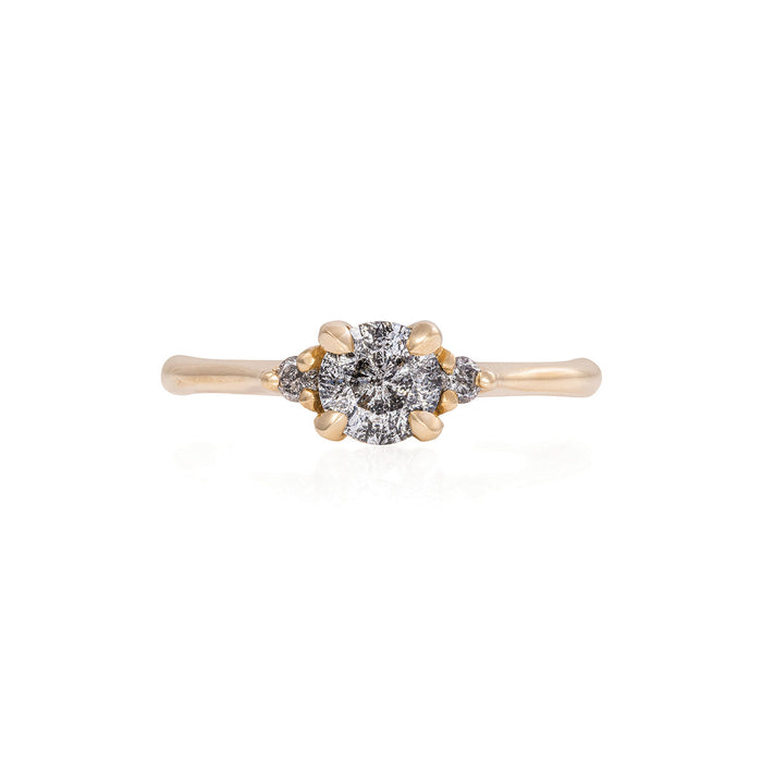 Solid Gold Love is All - Grey Diamond Polished Band Ring