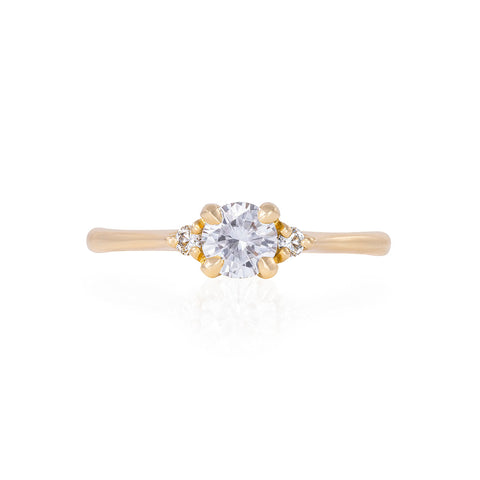Solid Gold Love is All - Moissanite & Classic Diamond Polished Band Ring