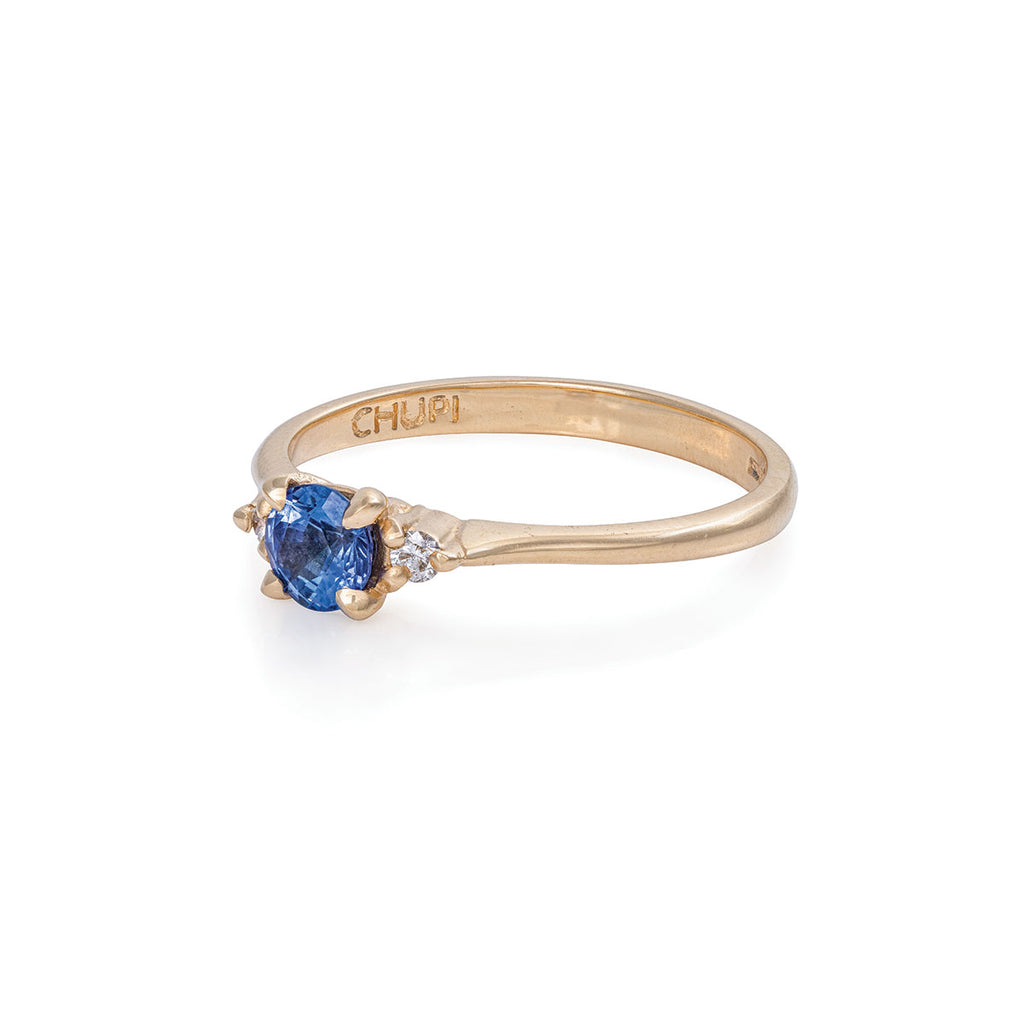 Solid Gold Love Is All Blue Sapphire & Diamond Polished Band Ring