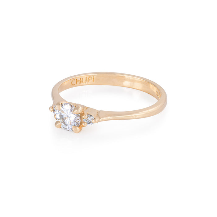 On-body shot of Solid Gold Love is All - Moissanite & Classic Diamond Polished Band Ring
