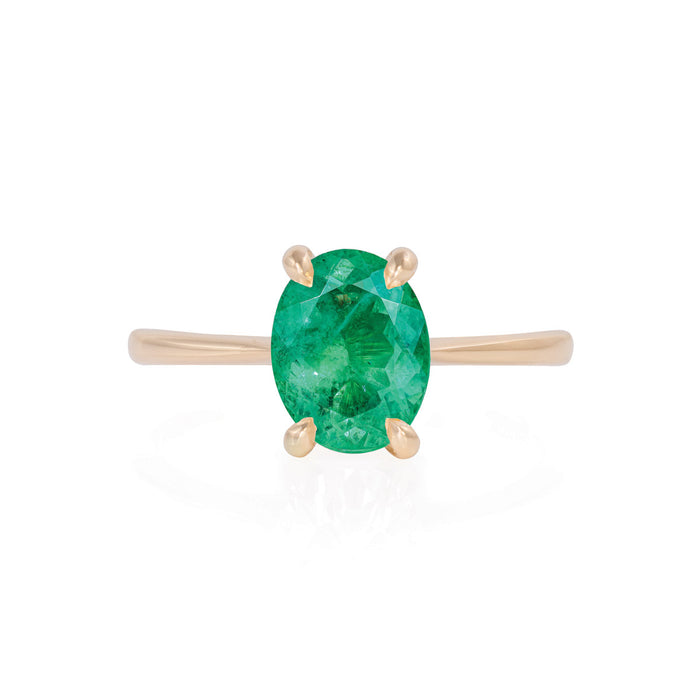 Solid Gold Moonlight - Emerald Polished Band Ring