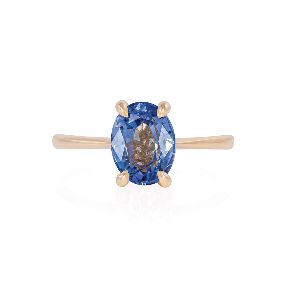 Solid Gold Moonlight - Blue Sapphire Polished Band Ring