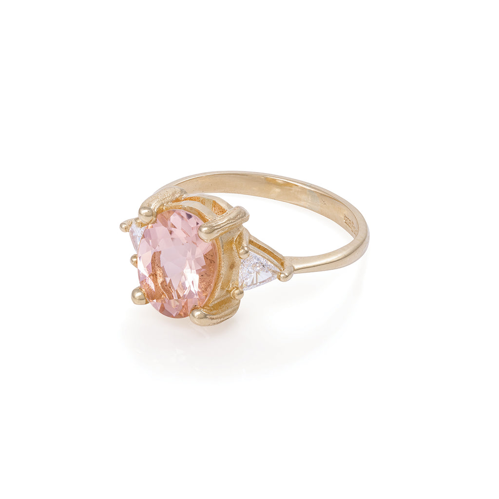 image-Solid Gold One In A Trillion - Morganite & Diamond Polished Band Ring