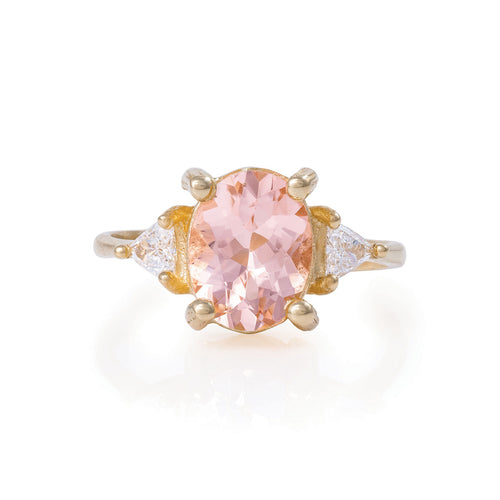 image of Solid Gold One In A Trillion - Morganite & Diamond Polished Band Ring