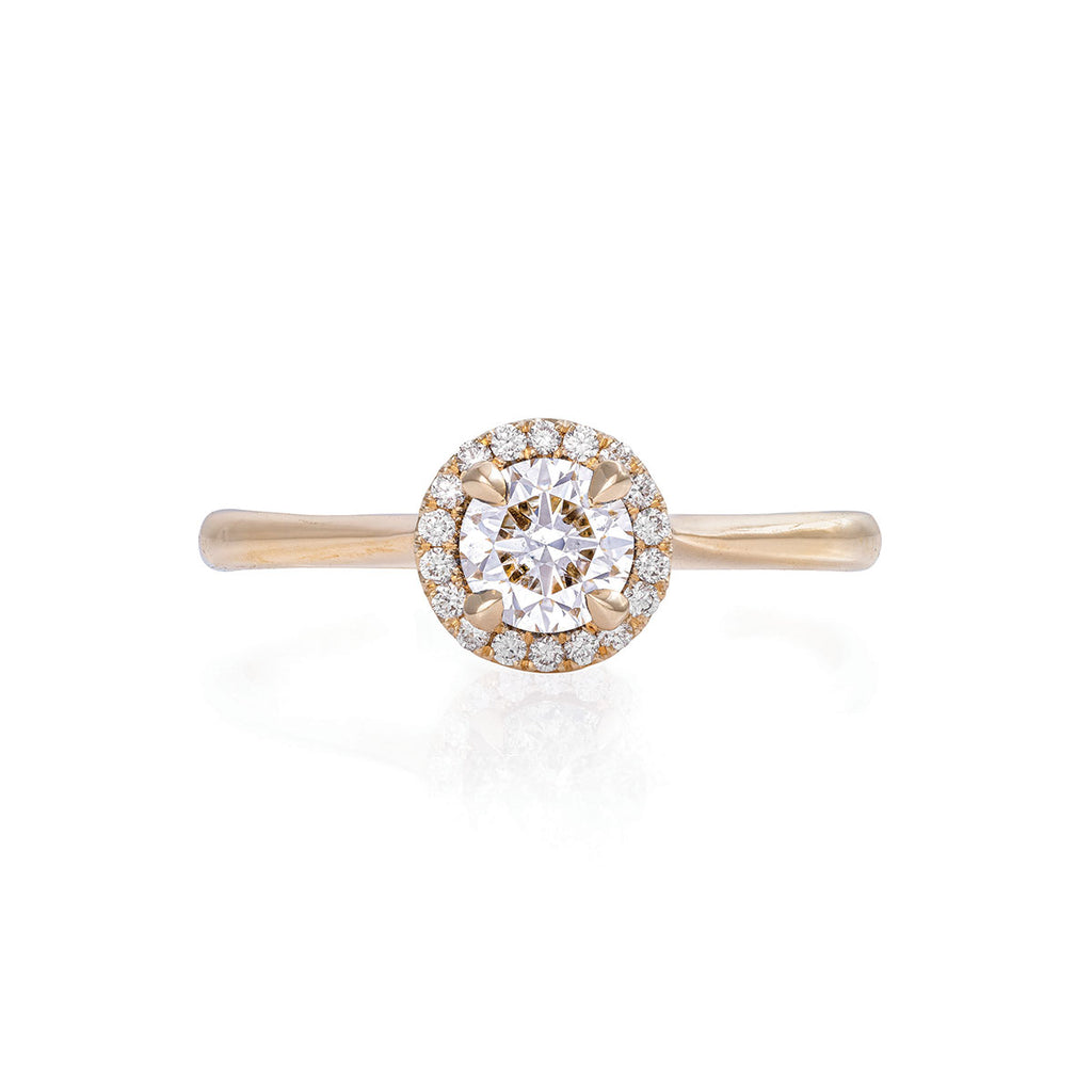 Solid Gold Queen of Hearts - Half Carat Classic Diamond Halo Polished Band Ring