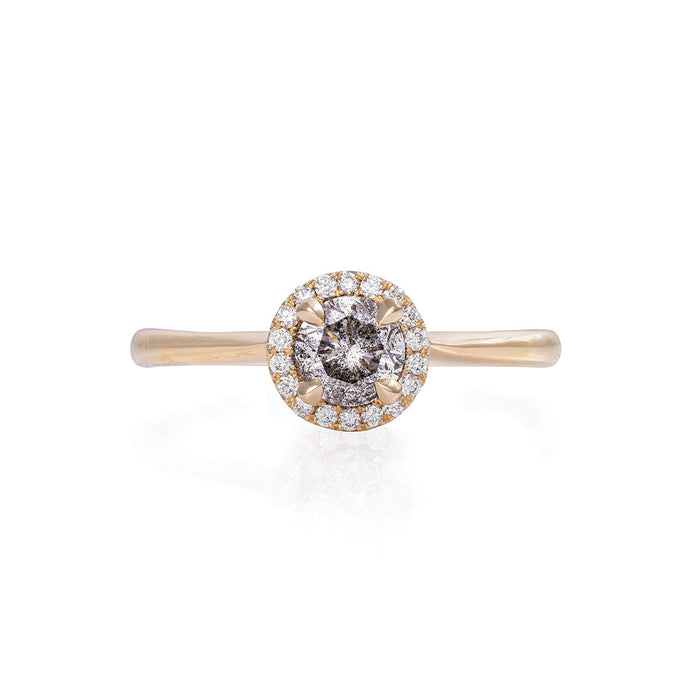 Queen of Hearts - 14k Polished Gold 0.5ct Grey Diamond Halo Ring