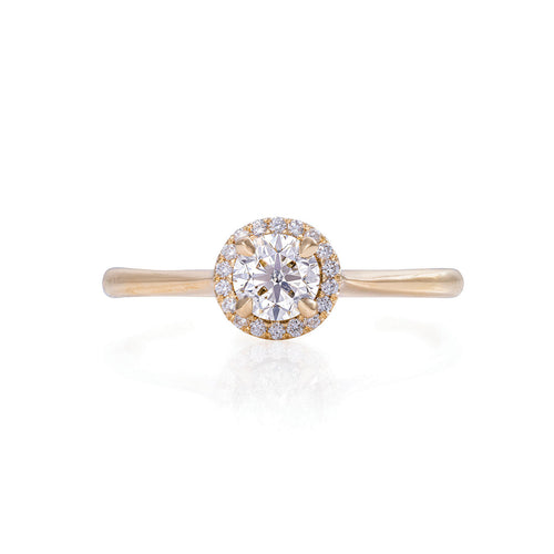 image of Solid Gold Queen of Hearts - Half Carat Lab Grown Diamond Halo Polished Band Ring