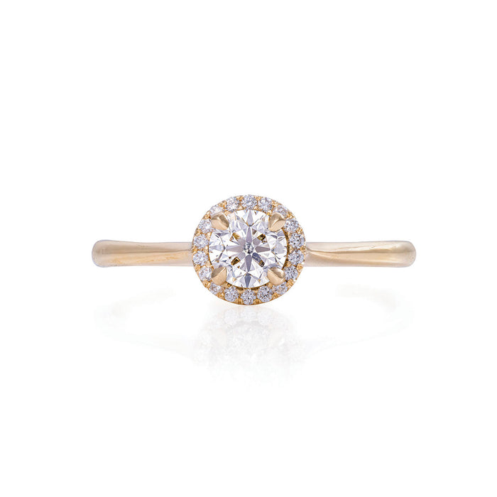 Solid Gold Queen of Hearts - Half Carat Lab Grown Diamond Halo Polished Band Ring