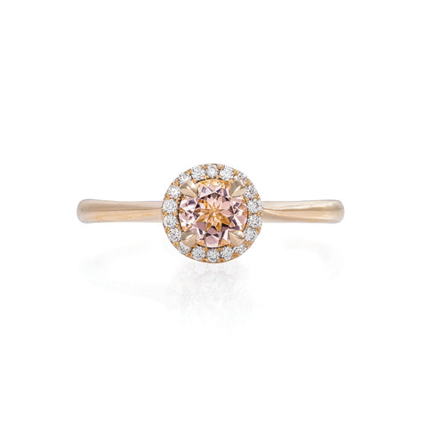 Solid Gold Queen of Hearts - Half Carat Morganite Halo Polished Band Ring