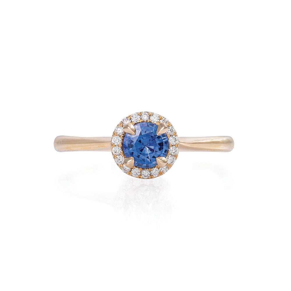Queen of Hearts - 14k Polished Gold 0.5ct Blue Sapphire Halo Ring
