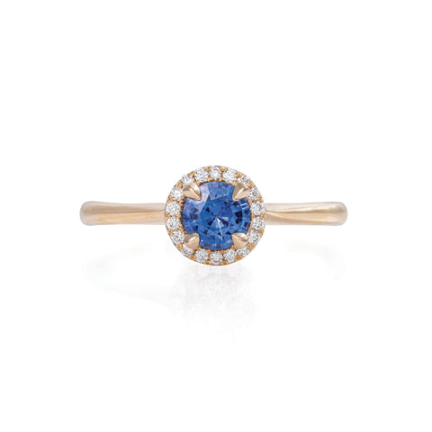Solid Gold Queen of Hearts - Half Carat Blue Sapphire Halo Polished Band Ring