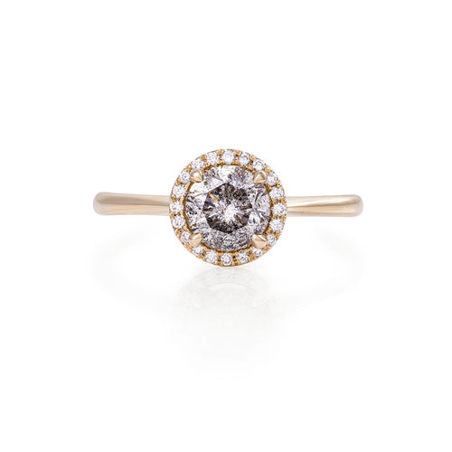 image of Solid Gold Queen of Hearts - One Carat Grey Diamond Polished Band Ring