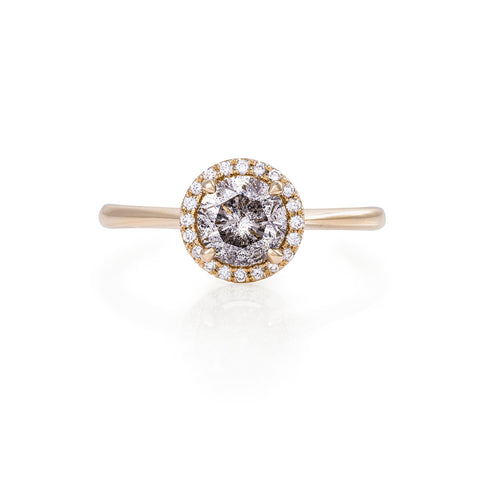 Solid Gold Queen of Hearts - One Carat Grey Diamond Polished Band Ring