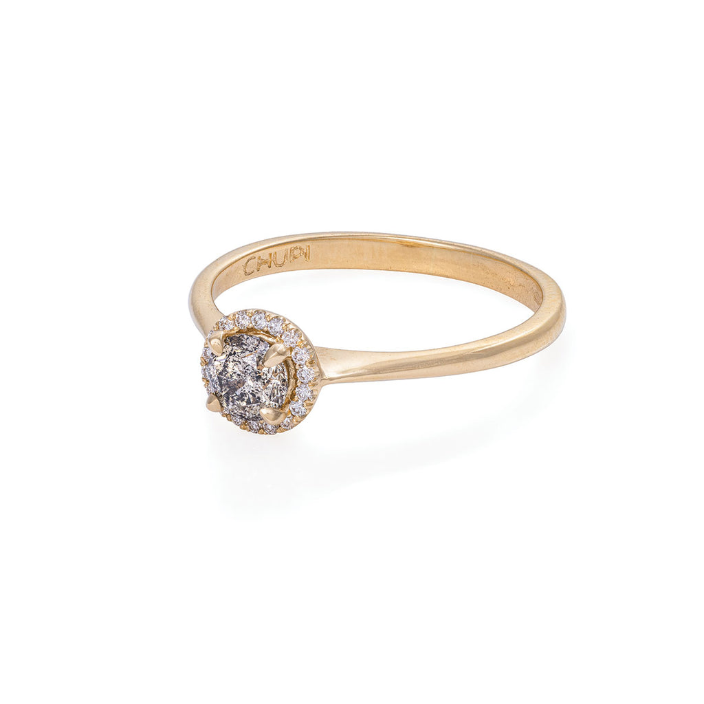 Solid Gold Queen of Hearts - Half Carat Grey Diamond Halo Polished Band Ring