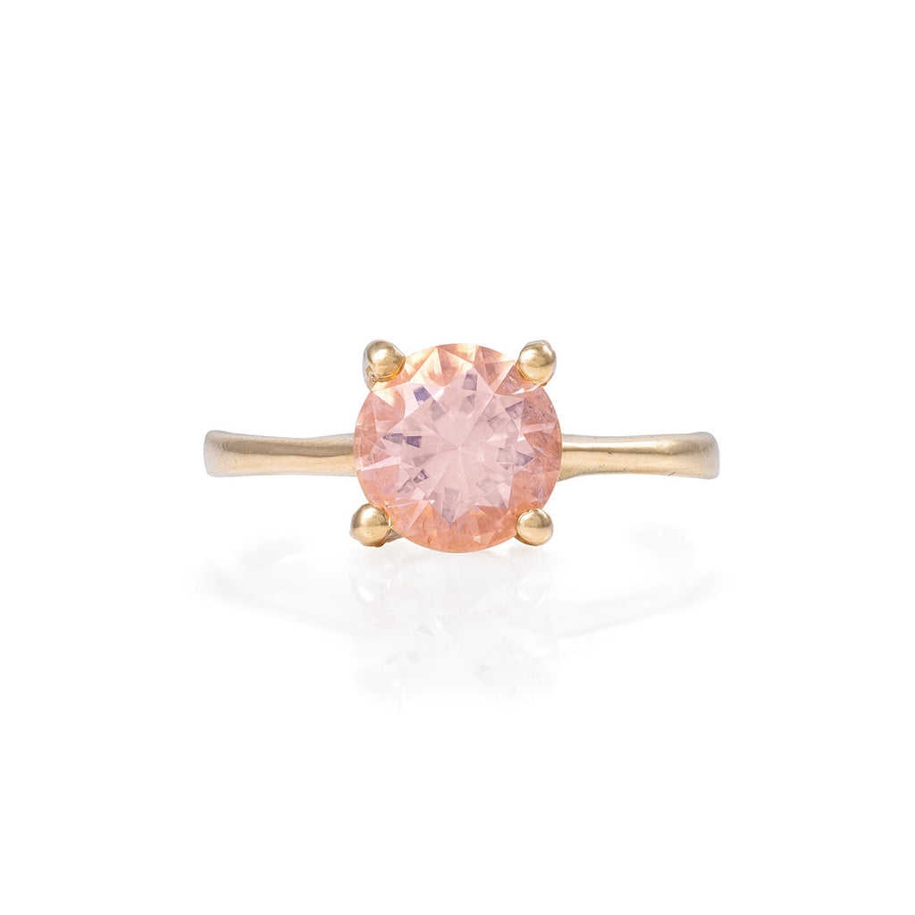 image-Solid Gold Sparkle In The Wild - One Carat Morganite Polished Band Ring