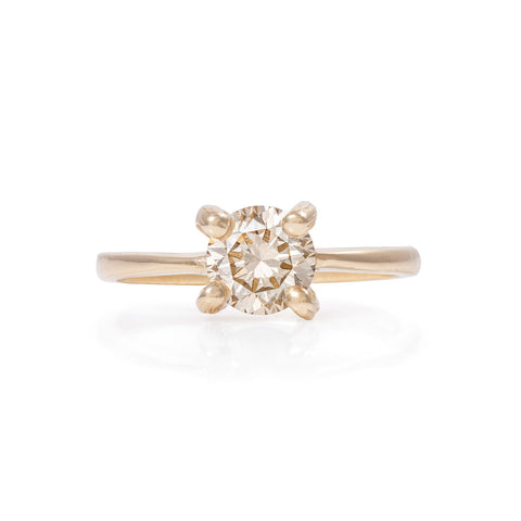 Solid Gold Sparkle in the Wild - One Carat Champagne Diamond Polished Band Ring