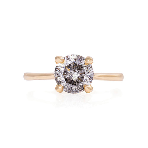 image of Solid Gold Sparkle in the Wild - Two Carat Grey Diamond Polished Band Ring