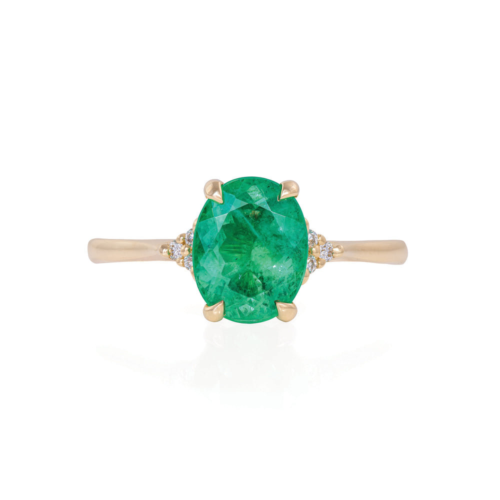 Solid Gold Starlight - Emerald Polished Band Ring