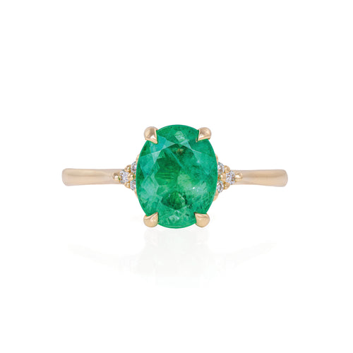 image of Solid Gold Starlight - Emerald Polished Band Ring
