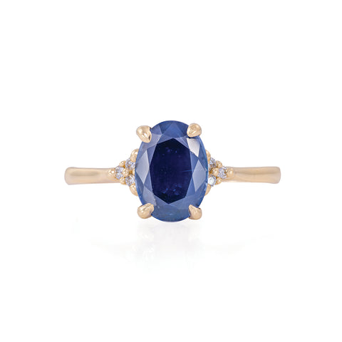 Solid Gold Starlight - Blue Sapphire Polished Band Ring