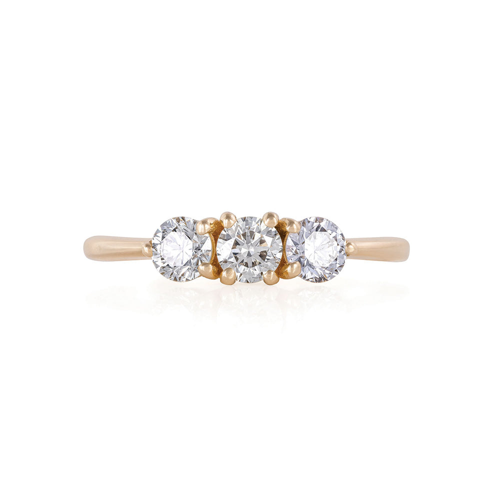 Stars in the Sky - 14k Polished Gold Three Diamond Eternity Ring