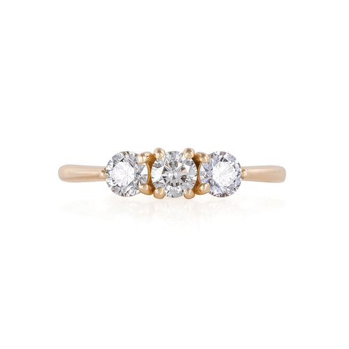 image of Solid Gold Stars in the Sky Eternity - Classic 3 Diamond Polished Band Ring
