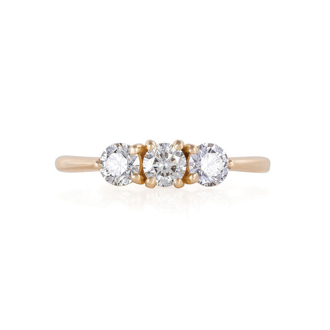 Solid Gold Stars in the Sky Eternity - Classic 3 Diamond Polished Band Ring