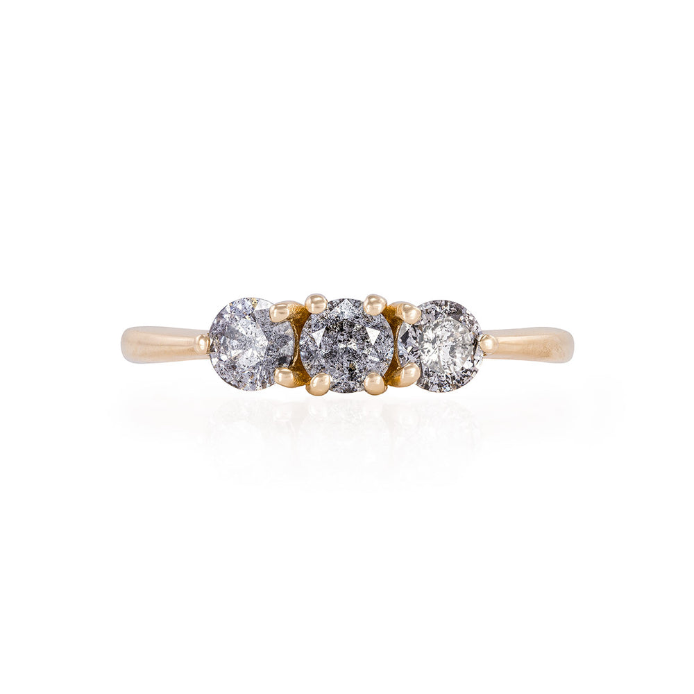 Solid Gold Stars in the Sky Eternity - Grey 3 Diamond Polished Band Ring