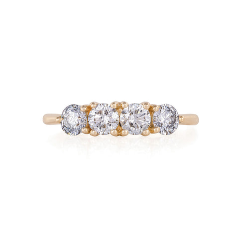 Solid Gold Stars in the Sky Eternity - Classic 4 Diamond Polished Band Ring