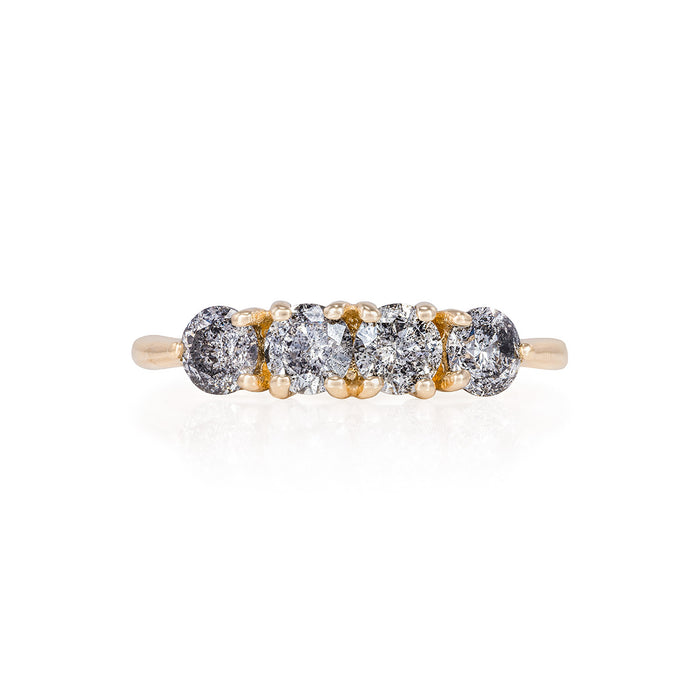 Stars in the Sky - 14k Polished Gold 4 Grey Diamond Eternity Ring