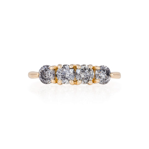 Solid Gold Stars in the Sky Eternity - Grey 4 Diamond Polished Band Ring