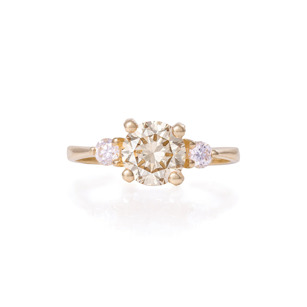 Solid Gold You Me & Magic - One Carat Champagne Diamond Polished Ring