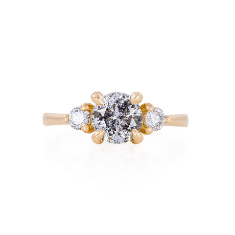 Solid Gold You Me & Magic - One Carat Grey Diamond & Classic Diamond Polished Band Ring