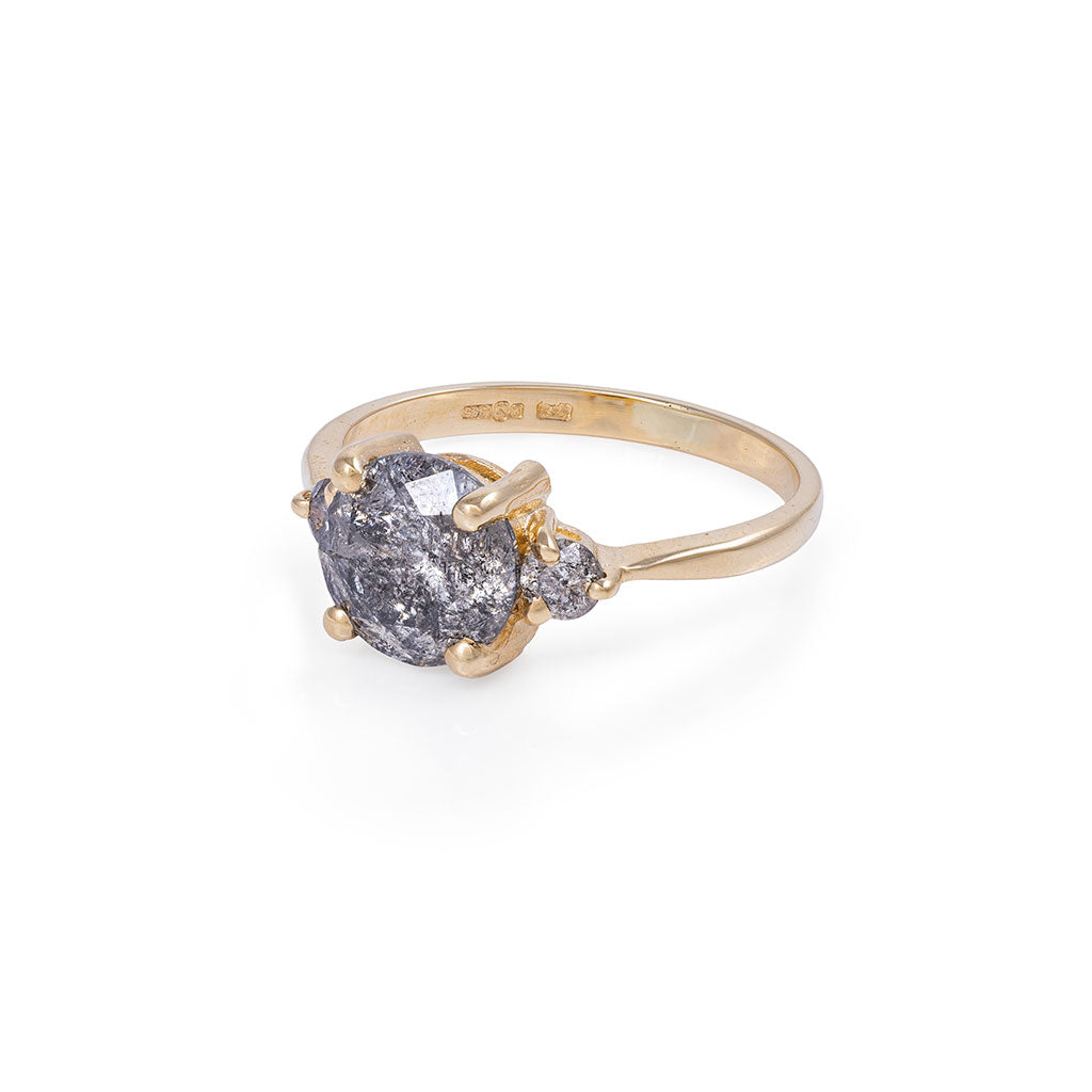 image-Solid Gold You Me & Magic - Two Carat Grey Diamond Polished Band Ring