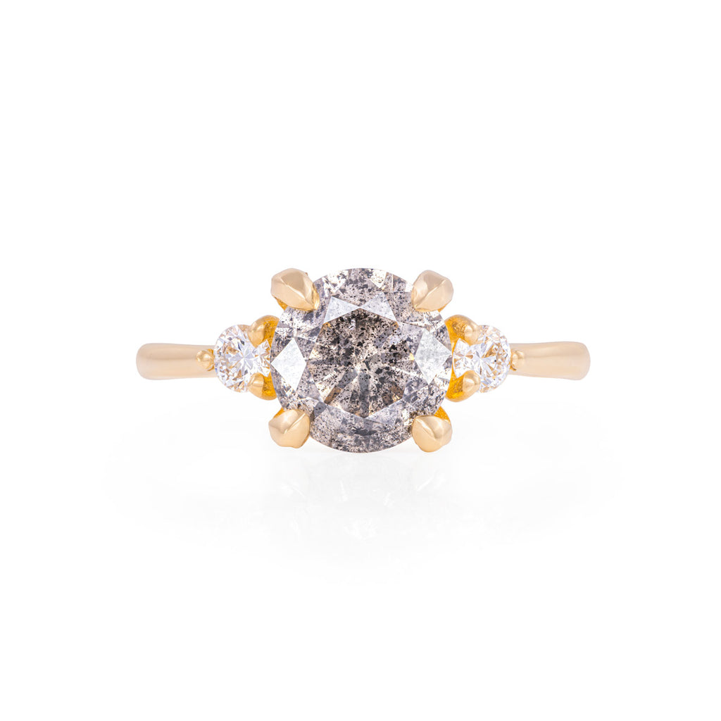 image-Chupi - Grey Diamond & Classic Diamond Engagement Ring - Two Carat - You Me & Magic - Solid Gold
