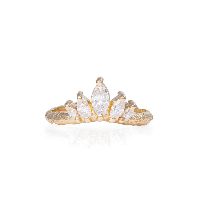 Solid Gold Crown of Hope Marquise Ring - Classic Diamond