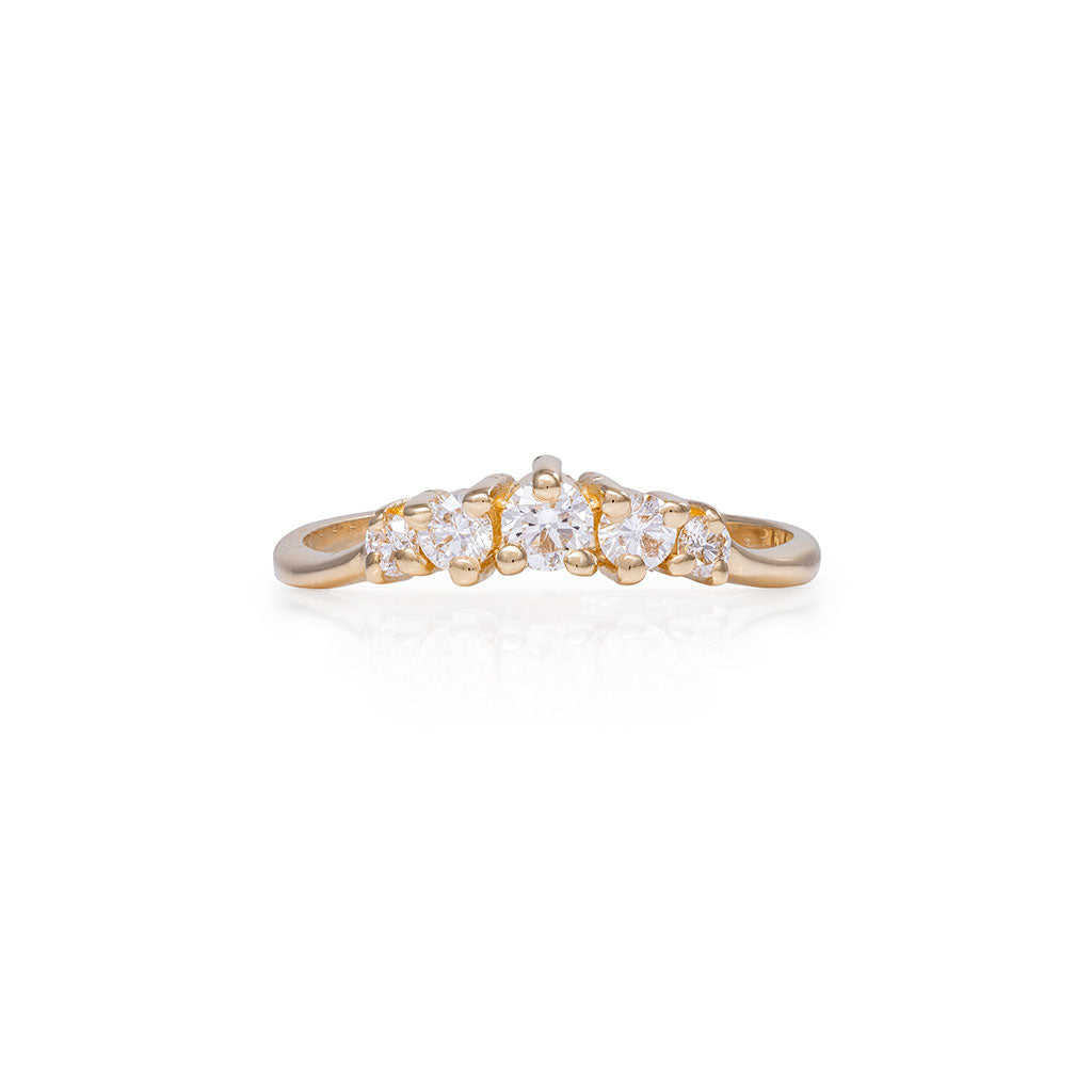 image-Chupi - Classic Diamond Ring - Polished Band Crown of Love - Solid Gold Engagement & Wedding Ring
