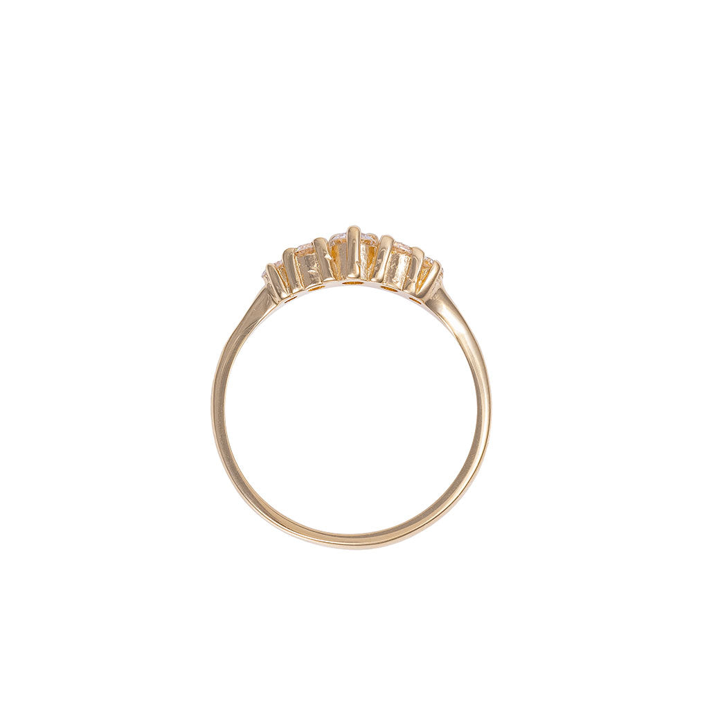 image-Solid Gold Crown of Love Polished Band Ring Classic Diamond