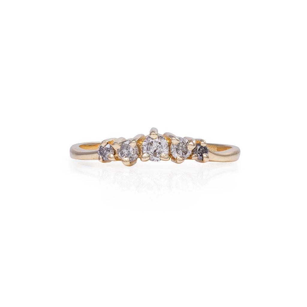 image-Chupi - Grey Diamond Ring - Polished Band Crown of Love - Solid Gold Engagement & Wedding Ring