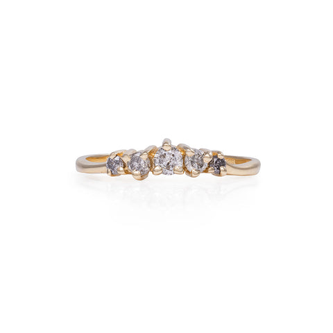 Chupi - Grey Diamond Ring - Polished Band Crown of Love - Solid Gold Engagement & Wedding Ring