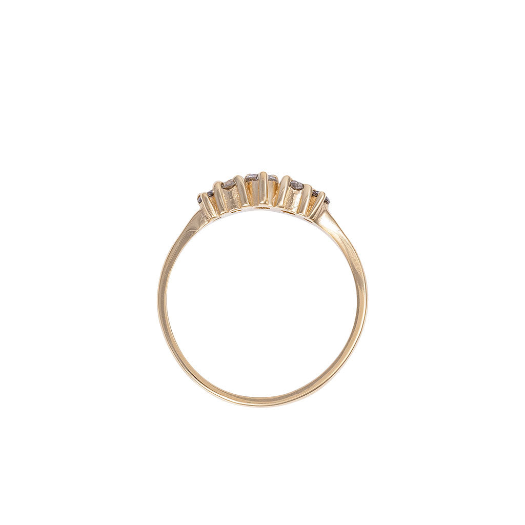image-Solid Gold Crown of Love Polished Band Ring Grey Diamond