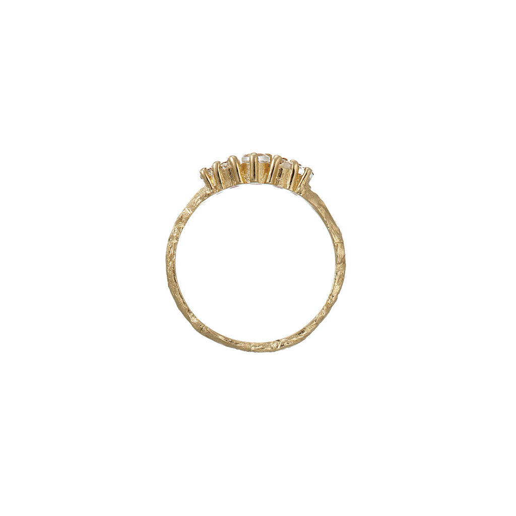 image-Solid Gold Crown of Love Ring Grey Diamond