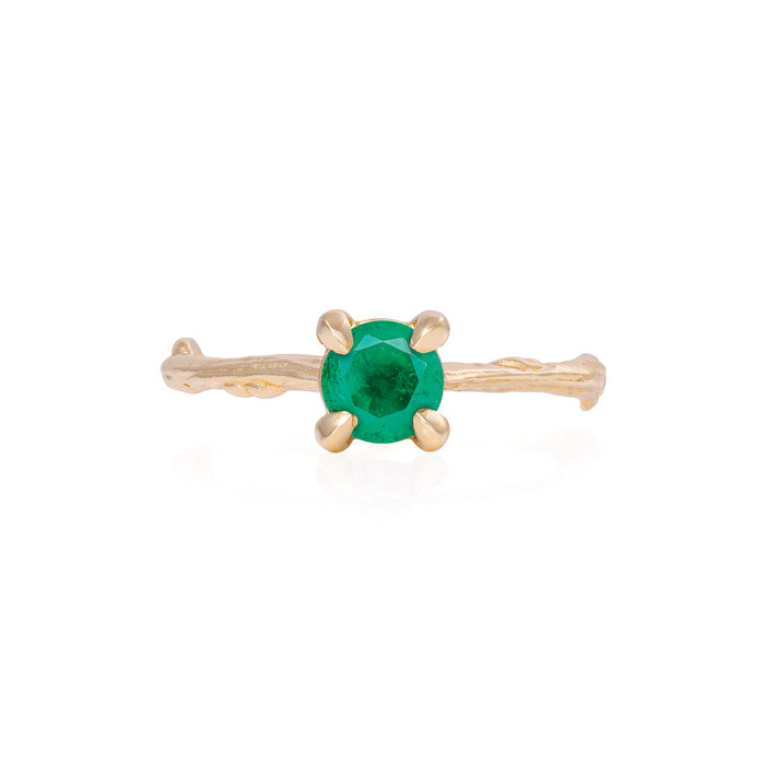 Darling in the Wild - 14k Gold Twig Band Emerald Ring