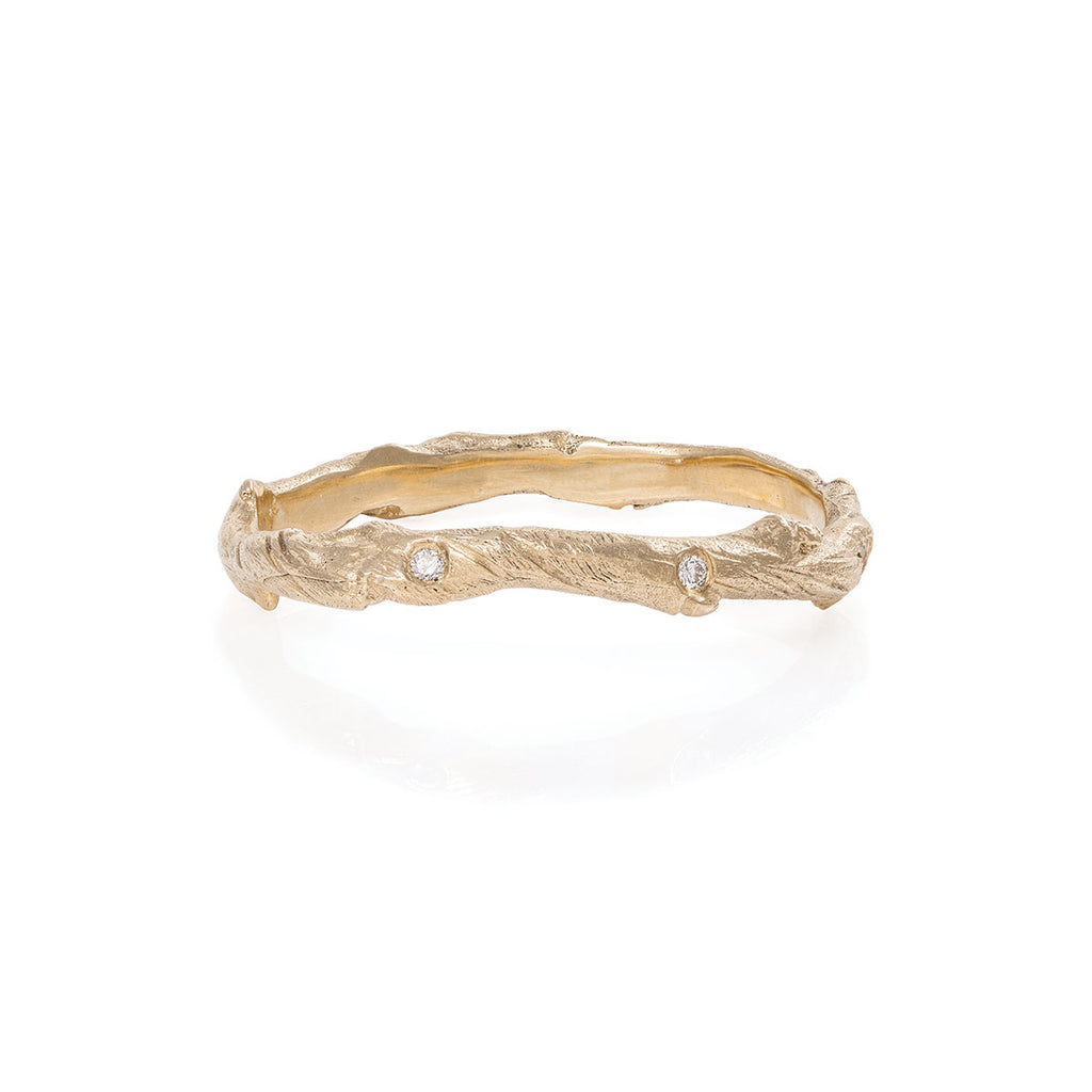 Solid Gold Hawthorn Twig Infinity Ring with Classic Diamond