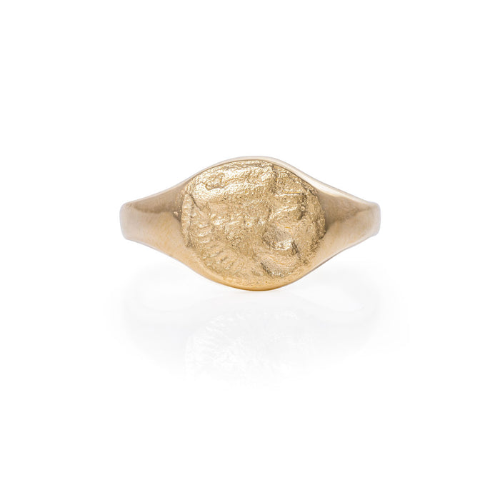 Solid Gold Little Lion Heart Signet Ring