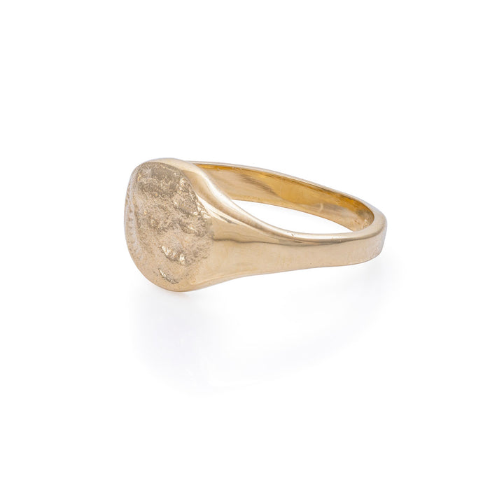 On-body shot of Solid Gold Little Lion Heart Signet Ring